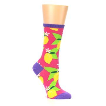 Image of Pink Yellow Lemons Women's Dress Socks (side-1-26)