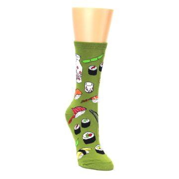 Image of Green Sushi Food Women's Dress Socks (side-1-front-02)
