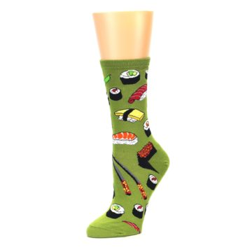 Image of Green Sushi Food Women's Dress Socks (side-2-09)