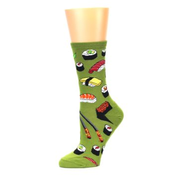 Image of Green Sushi Food Women's Dress Socks (side-2-10)