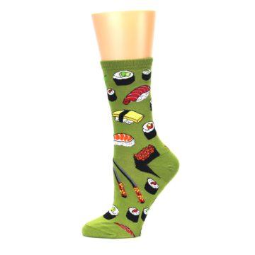Image of Green Sushi Food Women's Dress Socks (side-2-11)