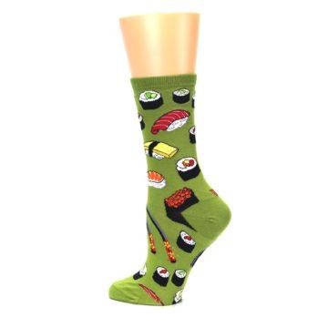 Image of Green Sushi Food Women's Dress Socks (side-2-13)
