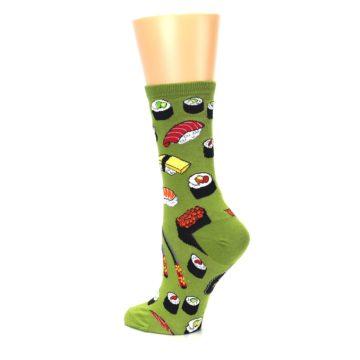 Image of Green Sushi Food Women's Dress Socks (side-2-back-14)