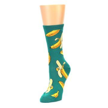 Image of Emerald Green Bananas Women's Dress Socks (side-2-front-08)