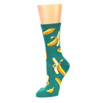 Image of Emerald Green Bananas Women's Dress Socks (side-2-09)