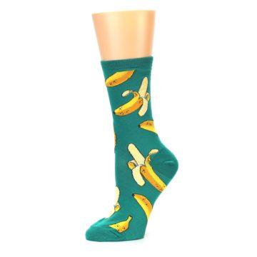 Image of Emerald Green Bananas Women's Dress Socks (side-2-10)