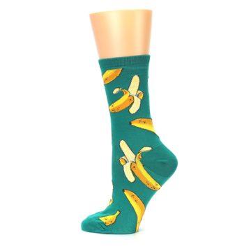 Image of Emerald Green Bananas Women's Dress Socks (side-2-12)