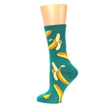 Image of Emerald Green Bananas Women's Dress Socks (side-2-13)