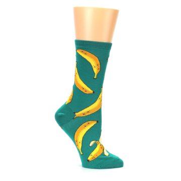 Image of Emerald Green Bananas Women's Dress Socks (side-1-25)