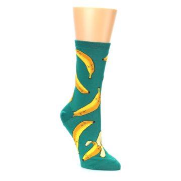 Image of Emerald Green Bananas Women's Dress Socks (side-1-27)