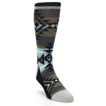 Image of Brown Blue Black Design Men's Casual Socks (side-1-front-02)