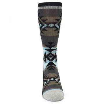 Image of Brown Blue Black Design Men's Casual Socks (front-04)