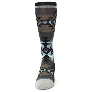 Image of Brown Blue Black Design Men's Casual Socks (front-05)