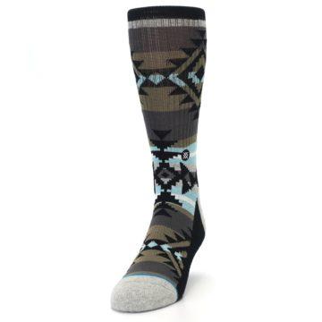 Image of Brown Blue Black Design Men's Casual Socks (side-2-front-06)