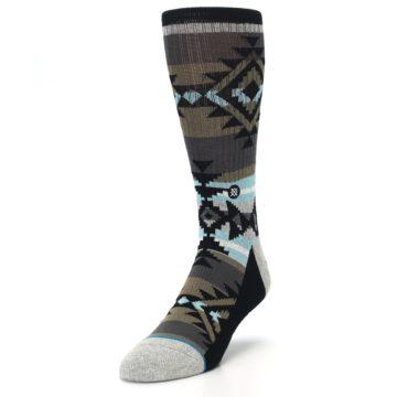Image of Brown Blue Black Design Men's Casual Socks (side-2-front-07)