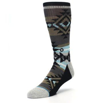 Image of Brown Blue Black Design Men's Casual Socks (side-2-front-08)