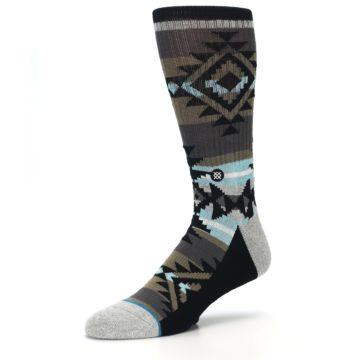 Image of Brown Blue Black Design Men's Casual Socks (side-2-09)