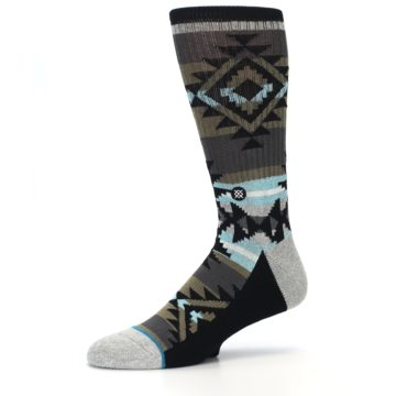 Image of Brown Blue Black Design Men's Casual Socks (side-2-10)