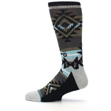 Image of Brown Blue Black Design Men's Casual Socks (side-2-12)