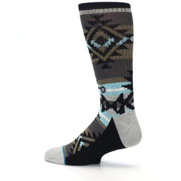 Image of Brown Blue Black Design Men's Casual Socks (side-2-13)