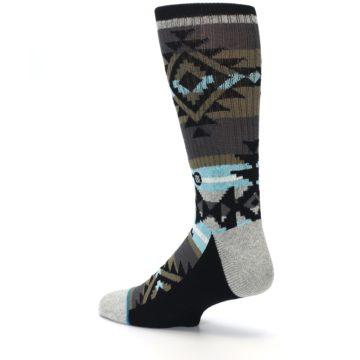 Image of Brown Blue Black Design Men's Casual Socks (side-2-back-14)
