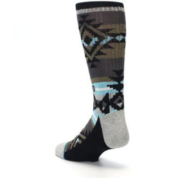 Image of Brown Blue Black Design Men's Casual Socks (side-2-back-15)