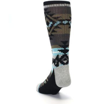 Image of Brown Blue Black Design Men's Casual Socks (side-2-back-16)