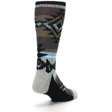 Image of Brown Blue Black Design Men's Casual Socks (side-1-back-21)