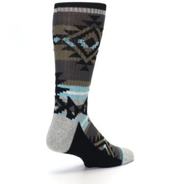 Image of Brown Blue Black Design Men's Casual Socks (side-1-back-22)