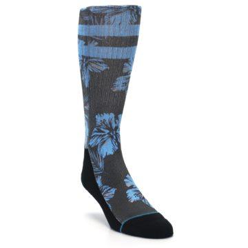Image of Black Blue Flowered Men's Casual Socks (side-1-front-02)