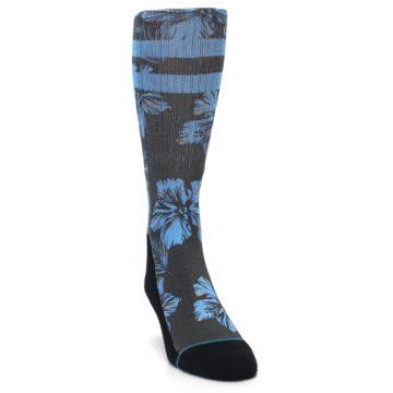 Image of Black Blue Flowered Men's Casual Socks (side-1-front-03)