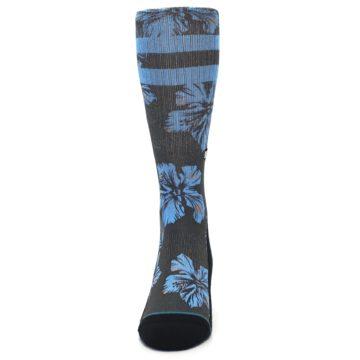 Image of Black Blue Flowered Men's Casual Socks (front-05)