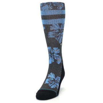 Image of Black Blue Flowered Men's Casual Socks (side-2-front-06)