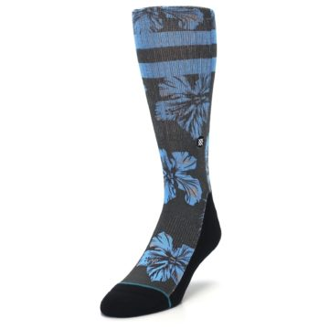 Image of Black Blue Flowered Men's Casual Socks (side-2-front-07)