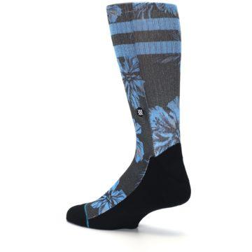 Image of Black Blue Flowered Men's Casual Socks (side-2-back-14)