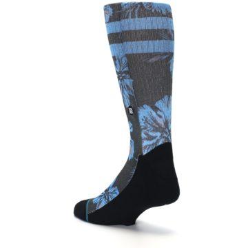 Image of Black Blue Flowered Men's Casual Socks (side-2-back-15)