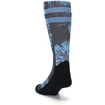 Image of Black Blue Flowered Men's Casual Socks (side-2-back-16)