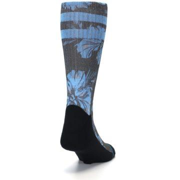 Image of Black Blue Flowered Men's Casual Socks (side-1-back-20)