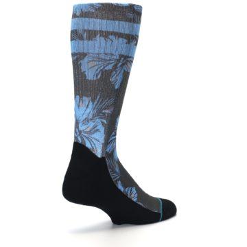 Image of Black Blue Flowered Men's Casual Socks (side-1-back-22)