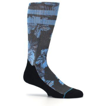Image of Black Blue Flowered Men's Casual Socks (side-1-25)