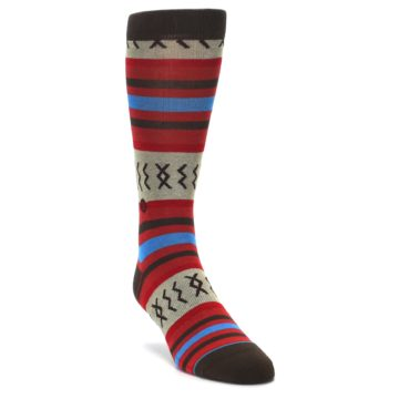 Image of Red Brown Blue Striped Men's Casual Socks (side-1-front-02)