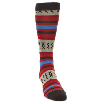 Image of Red Brown Blue Striped Men's Casual Socks (side-1-front-03)