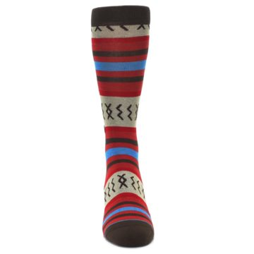 Image of Red Brown Blue Striped Men's Casual Socks (front-04)