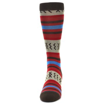 Image of Red Brown Blue Striped Men's Casual Socks (front-05)