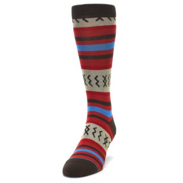 Image of Red Brown Blue Striped Men's Casual Socks (side-2-front-06)