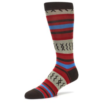 Image of Red Brown Blue Striped Men's Casual Socks (side-2-09)