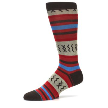 Image of Red Brown Blue Striped Men's Casual Socks (side-2-10)