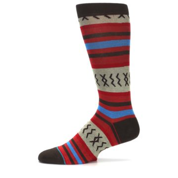 Image of Red Brown Blue Striped Men's Casual Socks (side-2-11)