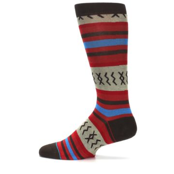 Image of Red Brown Blue Striped Men's Casual Socks (side-2-12)