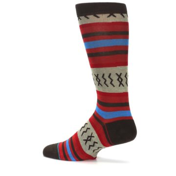 Image of Red Brown Blue Striped Men's Casual Socks (side-2-13)